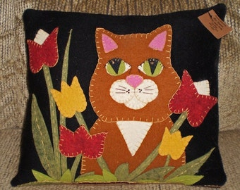 Pillow Pattern...Instant Download~Cat in the Garden
