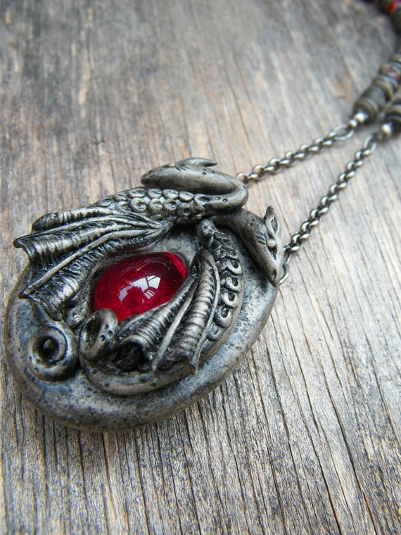 Dark Gothic Dragons necklace with blood ruby
