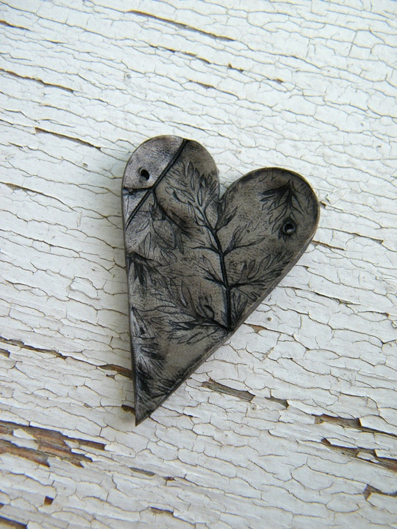Imprinted by Nature heart pendant