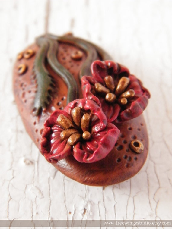 Poppies in Bloom handpainted polymer clay pendant (ready to ship)