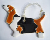 2 Basset Hound Porcelain Decorations or Magnets 5 x 3 in