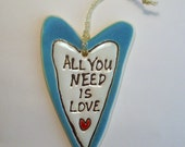 4.25 x 2.5x 3/8  Combo All you need is Love Decoration or Magnet and Valentine card