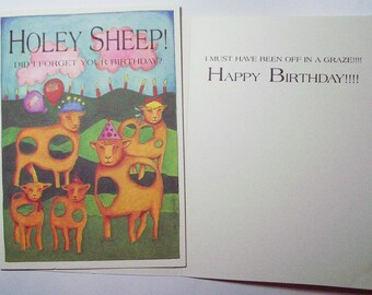 4 cards of Holey Sheep - Eco friendly 5 x 7 Card