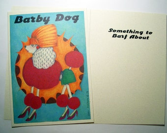Barby Dog Friendship Cards  Three Eco friendly 5 x 7 Card