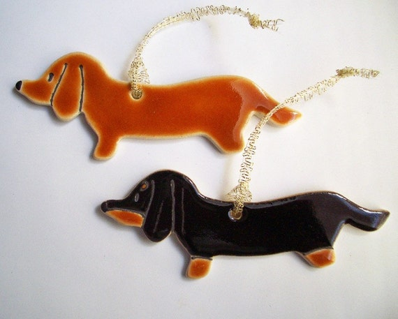 Two Dogs 5 1/4 x 1 1/2 Dachshund Decorations or magnets