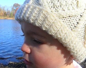 Irish Aran Cable Knit Hat Child Boy or Girl.  Age 2-4.