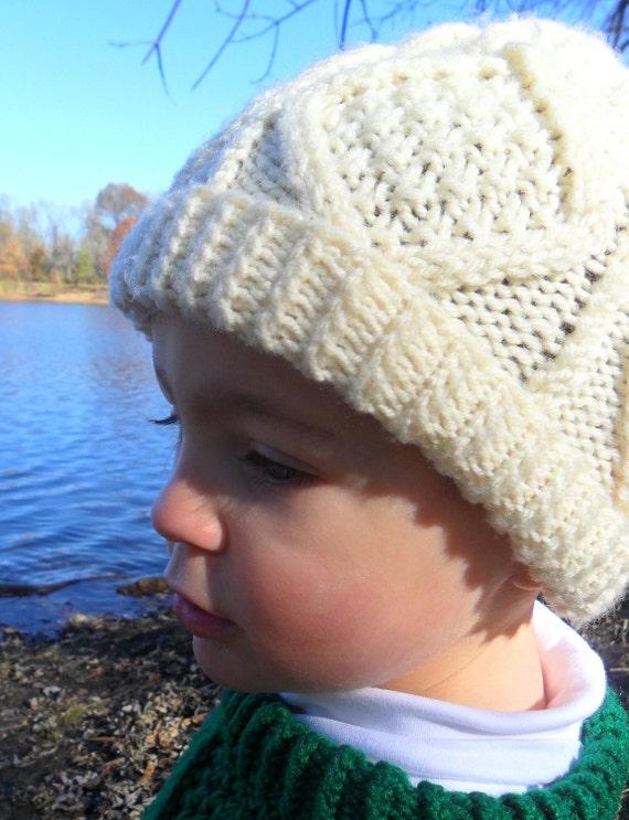 Irish Aran Cable Knit Hat Child Boy or Girl