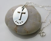 Faith Cross Silver Necklace - Large Oval With Cross Accent