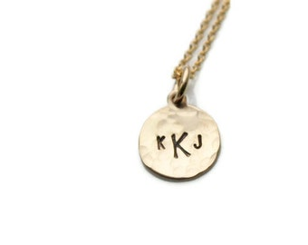 Gold Monogram Necklace - Small Gold Initial Necklace - Small Gold Monogram Necklace - Personalized Monogram Necklace - Gold Initial