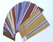 Beautiful Silk Fabric Sample Swatches 3 3\/4 x 7 1\/2 - 12 Pieces - Multi Color Jewel Tone Stripes - 511