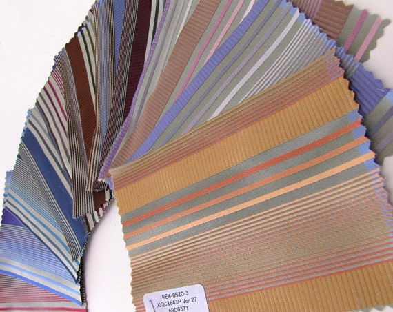 Divine Silk Fabric Sample Swatches 3 3/4 x 5 1/4 - 12 Pieces - Sage Green Tone Multi Stripes - 654