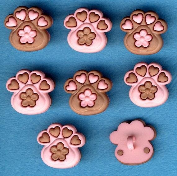 FLOWER PET PAWS - Dog Puppy Cat Kitten Themed Buttons