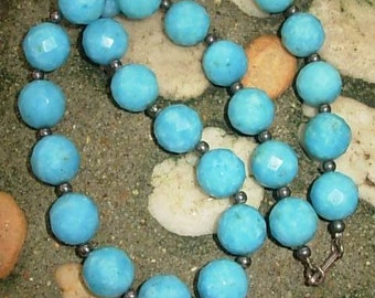 Pretty Blue Natural Faceted Chrysocolla,Hematite Beads Necklace