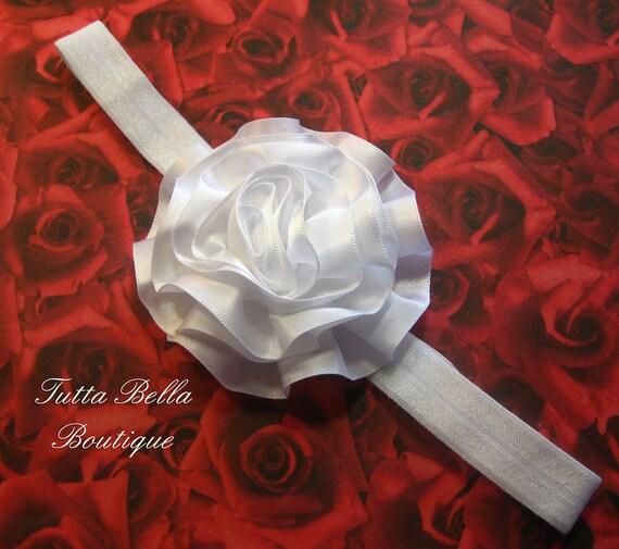 White Flower Headband - White Satin Ribbon Swirl Flower  -  Stretchy Headband - Newborn Babies - Toddlers