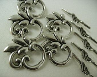 Leaf Branch Togle Clasps Findings 6 Sets Silver Metal Toggle Clasps Necklace Togle Clasps Bracelet Togle Clasps