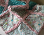 Baby Rag Quilt Sweet Divinity Girl Riley Blake Minky Pink Aqua Blanket