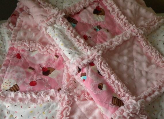 Rag Quilt Baby Girl Robert Kaufman Little Cupcake Confections Minky Blanket