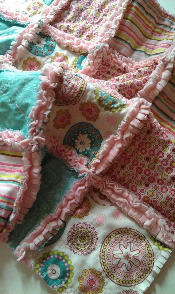Baby Girl Rag Quilt Penny Lane Riley Blake Pink Aqua Minky Security Blanket