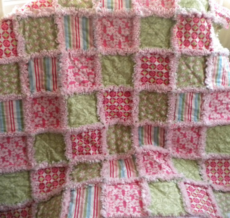 Baby Girl Rag Quilt Moda Verna Rag Quilt Blanket