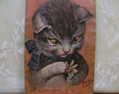 Cute Tiger Kitty - He Loves Me - artist signed - Arthur Thiele - Vintage Postcard - 1910