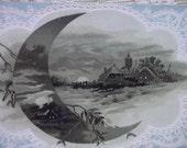 Pretty Lacy Moon Scene - Victorian Trade Card - Capital Coffee - 1800's