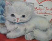 Cute Flocked White Kitten - Baby's First Valentine Card - 1950's