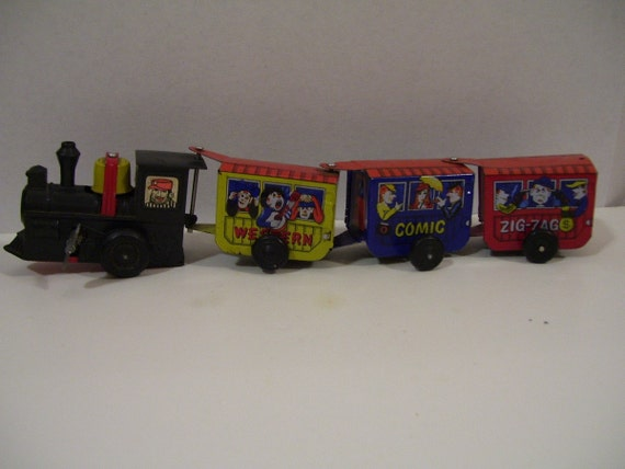 Vintage Metal Wind-Up Train - Zig-Zag Comic Express