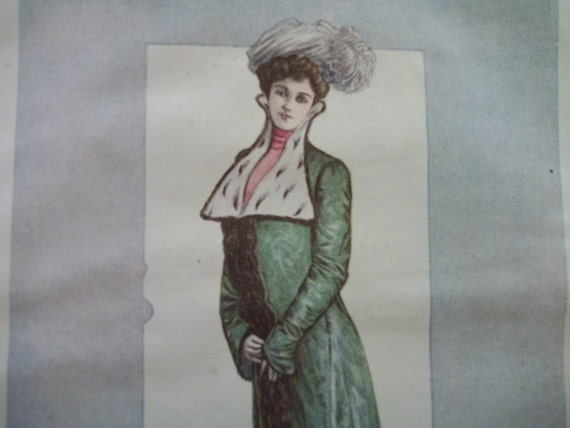 Antique Harpers Bazar Fashion Plate of Pretty Lady in Evening Cloak and Large Hat  - Watercolor - 1901