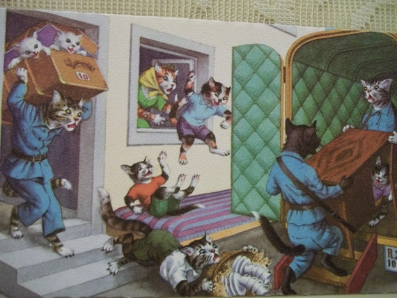 Alfred Mainzer Dressed Cats - Moving Day - No. 4923 - Vintage Postcard - Printed in Belgium - 1950's