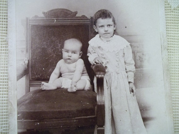Little Girl in Long Checkered Dress with Baby Brother in Just a Diaper - Antique Cabinet Photo - 1800's