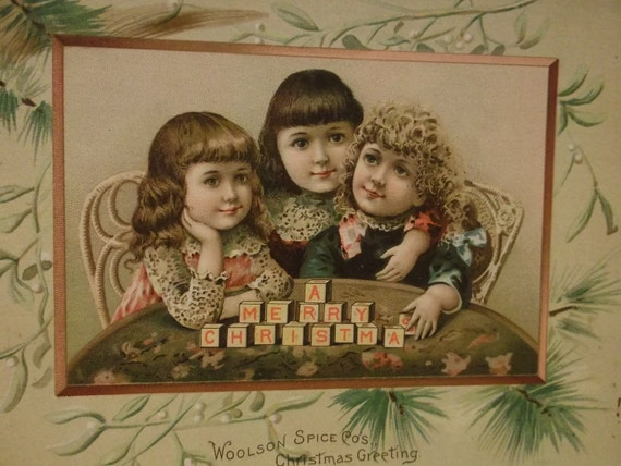 3 Pretty Little Girls Spelling Merry Christmas with Blocks - Victorian Trade Card - Lion Coffee - Christmas Greeting - 1891