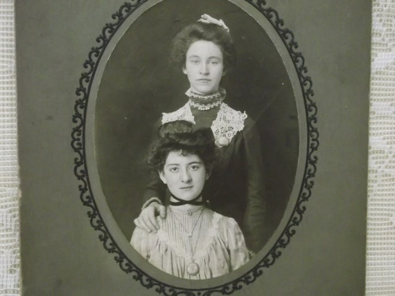 2 Pretty Ladies in Beautiful Dresses, Lots of Jewelry and Gibson Hairdos - Antique Mounted Photo - early 1900's