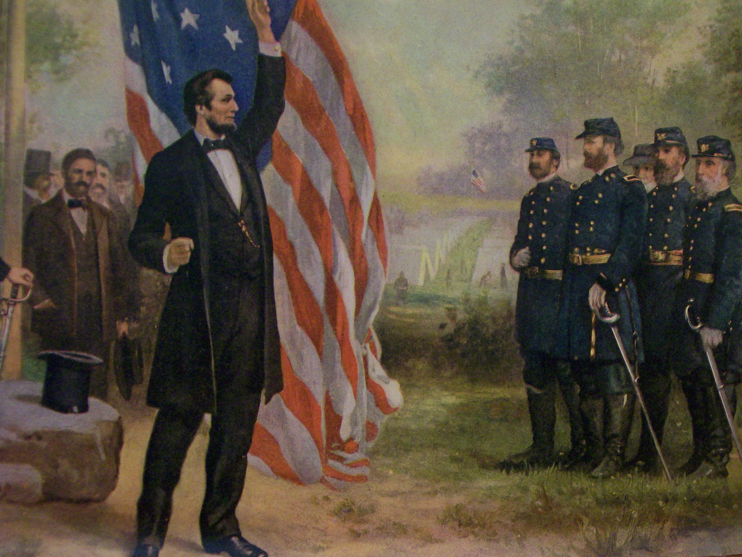 Abraham Lincoln And Soldiers With Flag Civil War Vintage