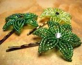 Leafy Stroll - Bobby Pins or U-Pins - French Beaded Flower