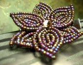 Russet Eggplant  -  Hair Clip or Brooch Pin - French Beaded Flower