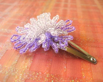 Starry Starry Night - Snap Clip - French Beaded Flower