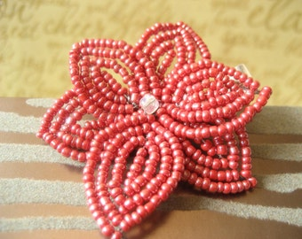 Lava -  Hair Clip or Brooch Pin - French Beaded Flower