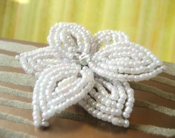 Snow Puff -  Hair Clip or Brooch Pin - French Beaded Flower