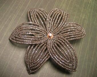 Coconut  -  Hair Clip - French Beaded Flower