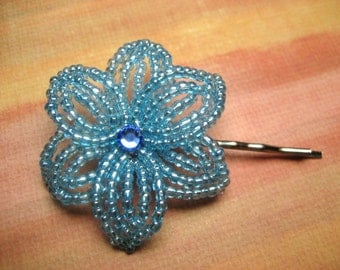 Nautical Wind - Bobby Pin - French Beaded Flower