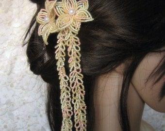 Ginger Peach - Hair Clip - French Beaded Flower Kanzashi Maiko Geisha Japanese Hair Accessory