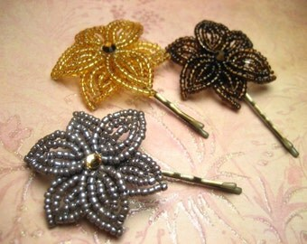House Special - Bobby Pins or U-Pins - French Beaded Flower