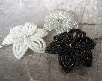Monochromatic Collection - Bobby Pins or U-Pins - French Beaded Flower