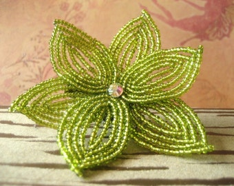 New Leaf  -  Hair Clip - French Beaded Flower