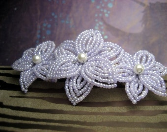 Soft Whisper - French Barrette or Comb - French Beaded Flower