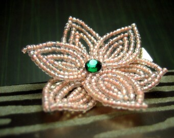 Forest Fay  -  Hair Clip or Brooch Pin - French Beaded Flower