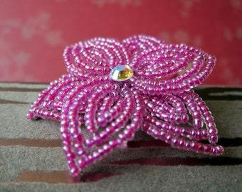 Raspberry de Amor  -  Hair Clip or Brooch Pin - French Beaded Flower