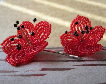 Red Ume Blossom - Bobby Pins or U-Pins - French Beaded Flower