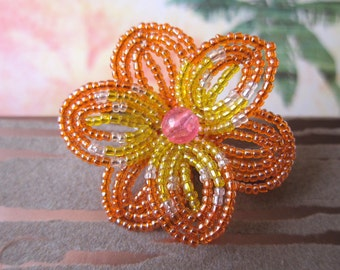 Sunset  Tropics  -  Hair Clip or Brooch Pin - French Beaded Flower