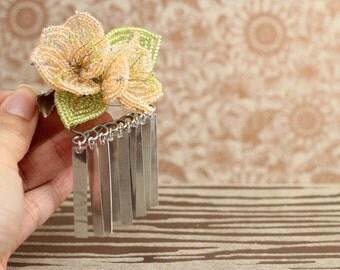 Orange Sorbet Sakura Blossom - Hair Clip - French Beaded Flower Bira Bira Kanzashi Maiko Geisha Japanese Hair Accessory